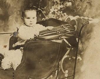 Three eyed baby buggy oddity Victorian child antique image