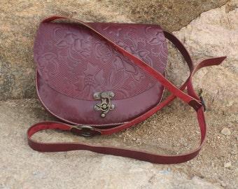 Red Leather Floral Embossed Handbag/Purse/Crossbody bag - Handmade in Turkey