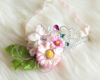 sparkle fairy flower crown/tiara headband