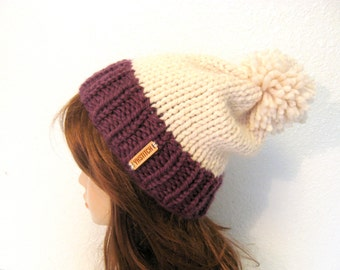 Knit Hat, Knit Women Hat, Slouchy Knit Hat with Pom Pom / VAIL / Fig and Fisherman