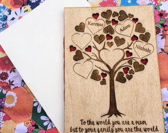 Personalised Family Tree of Hearts Greetings Card Christmas Birthday Mothers Day Fathers Day Card Mum's Dad's Gift Personalized