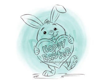 Easter Bunny with Heart shaped Hoppy Easter Sign- Digital Stamp Art/ KopyKake Image- SP63-BUNHEART