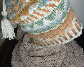 Fair Isle hat, hand knitted, wool .  soft natural tones.