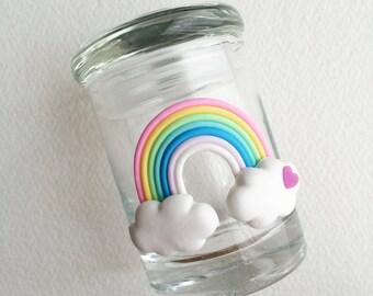 Stash jar,RAINBOW, embellished, kawaii,weed jar, glass stash jar, cute, stoner gift, girly gift women upscale cannabis Marijuana jar