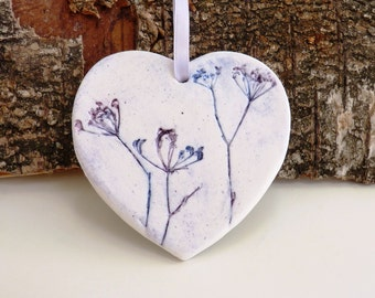 Ceramic heart ~ hanging heart, essential oil diffuser, cow parsley, clay hearts, birthday present, small gift for her, present for Mom