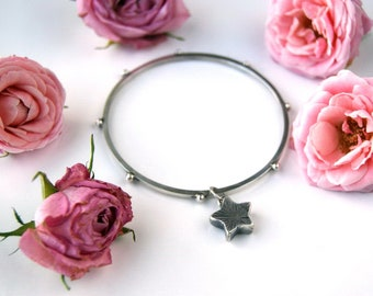 Made to Order ....... Divine Star - Star Sterling Silver Bangle
