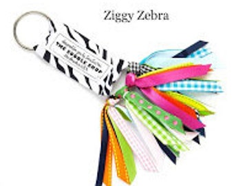 The Soodle ribbon key chain Ziggy Zebra