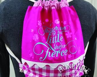 Girls drawstring monster bag, she is fierce back pack, tote,