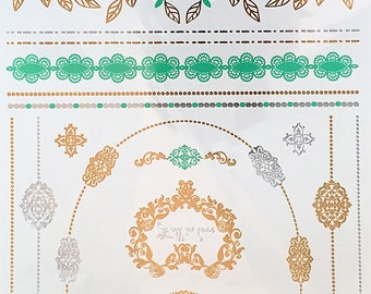 GIANT TEMPORARY TATTOOS, Metallic Jewelry Tattoos, Romantic Temporary tattoos for wedding, Floral design, Flash Tattoos for beach party
