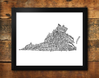 "Virginia In Type - 11""x14"" - Hand-Lettered"