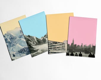 Art Postcards With Envelopes, Mountain Postcards, City Postcards, Affordable Art, Modern Stationery, Gift Ideas - Coloured Skies