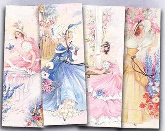 75% OFF SALE Pretty Ladies - Digital vintage bookmark B022 collage sheet printable download woman digital image retro collage flowers cards