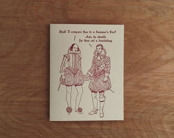 Shall I compare thee... Britches & Hose Series, #4. Letterpress Greeting Card.