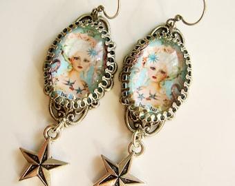 The Star Tarot Card Earrings in Silvertone with nautical star drop. Tattoo style, Georgian style