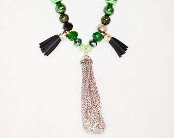 Green Tassel Beaded Necklace