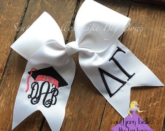 Graduation Bow, Monogrammed Bow for Graduation, Graduation Cap Bow, 2018 Graduation Bow, Big Sorority Graduation Bow, PICK COLORS