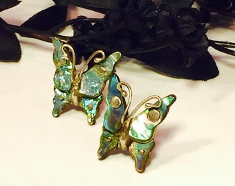 Beautiful Old Mexican Butterfly Sterling Silver Mother of Pearl Vintage Earrings