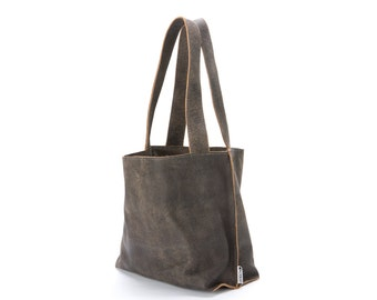 Distressed Grey Leather Tote Bag, Soft Leather Bag, Slouchy leather bag, Leather handbag, Women Bag, Shiri Bag, Leather bag, Leather tote