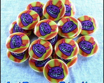 """Devil Troll 1"""" Pinback Buttons - Magnets, Zipper Pulls, Hair Ties, Shoe Lace Charms"""
