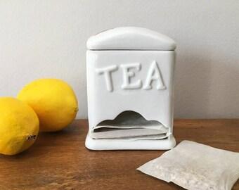 Vintage Tea Bag Holder Porcelain Canister Dispenser with Colorful Painted Fruit / Tea Station Tea Cart Supply / Tea Party
