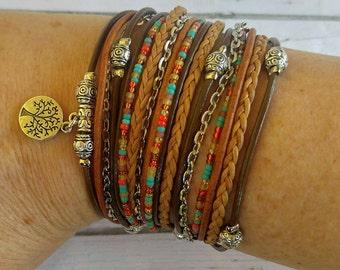 Womens Wrap Bracelet - Braided Leather Bracelet - Tree of Life - Best Selling Item - Choose 1 Charm - Customizable - Best Friend Gift