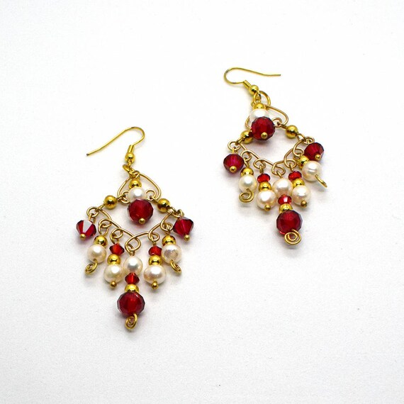 Gold chandelier earrings crystal chandelier earrings red like this item aloadofball Choice Image