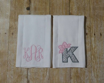 Baby Girl Personalized Embroidered Burp Cloth Set-Baby shower gift-Girly burp cloth-Set of 2-Letter with bow and monogram-Embroidered set
