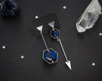 Asymmetric earrings with natural blue Lapis lazuli