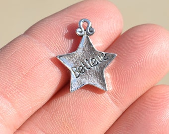 5  Silver Tone Star Shaped BELIEVE Charms SC1281