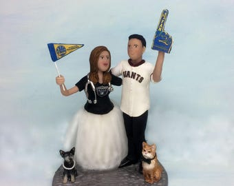 Custom Wedding Cake Topper of Bride Groom and Pets from your Ideas and Photos