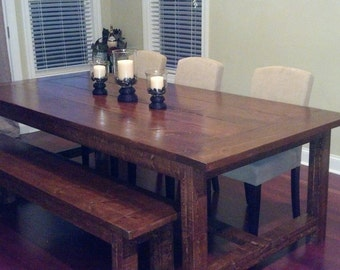Farmhouse style dining room table with bench - 6 ft.  Your choice of stain