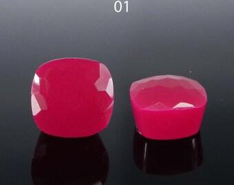 12x12x8mm cushion football cut - Fuchsia chalcedony - Gemstone for jewelry making - high dome semi precious stone - flat back cab - Choose