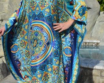 Ocean Blue Silk Caftan Womens Silk Kaftan Silk Dress Silk Coverup Silk Tunic Resort Wear Long Silk Caftan Silk Beach Dress