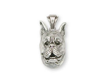 Boxer Pendant Jewelry Sterling Silver Handmade Dog Pendant BX8-P