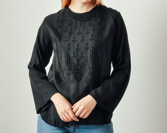 Vintage Black Embellished Top