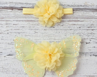 Yellow butterfly wing set for newborn photos, photo prop, newborn photographers, new baby, baby girl, baby wings by Lil Miss Sweet Pea