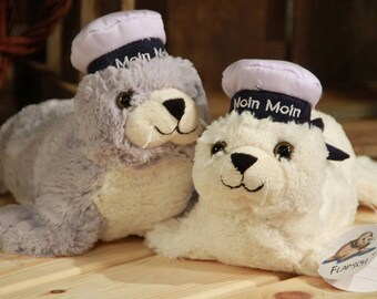 Supersweet seal with sailor cap - Moin Moin cuddly soft 35 cm gray