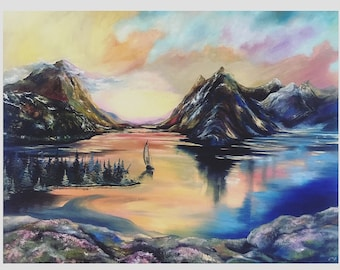 "Original oilpainting ""Sunset Canada"" on canvas, fine art, by Stephanie Künzli Ycaza, with certificate"