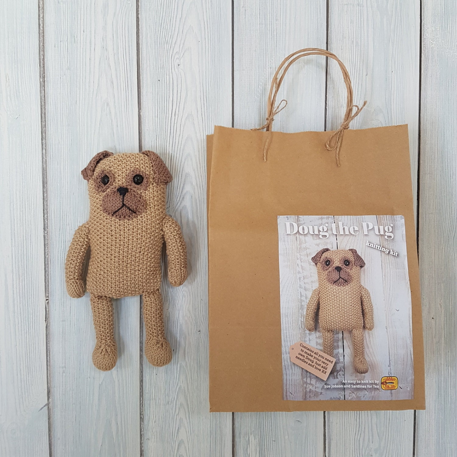 Doug the Pug Knitting Kit Make Your Very Own Pug dog Easy