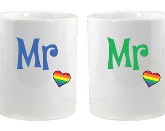 Matching Mr and Mr Rainbow Heart Mugs