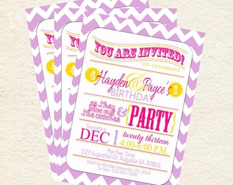 Boy and Girl Purple and Yelllow Joint Party Printable Invitations