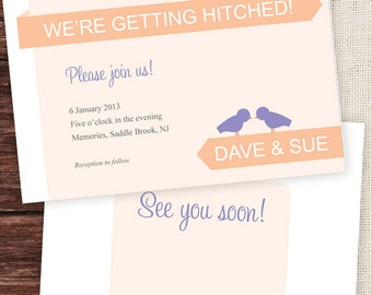 Getting Hitched Love Birds Printable Wedding Invitation and RSVP in Peach, Purple and Grey