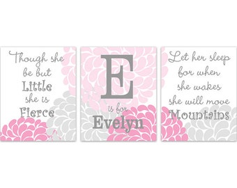 Nursery Quote Art CANVAS, Let Her Sleep, She Will Move Mountains, Girl Monogram, Nursery Wall Art, Pink and Grey Nursery Wall Art - KIDS194