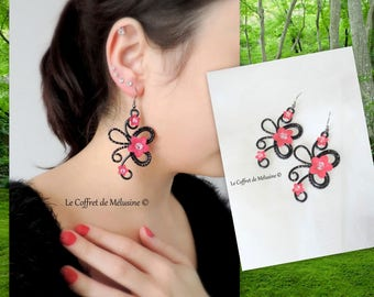 "Large earrings black and Fuchsia flowers ""Alyna"""