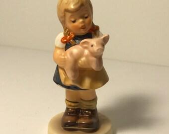 1995 HUMMEL GOEBEL FIGURINE tmk-7 mark west Germany original retired porcelain statue sculpture membership club Pigtails 2052 pig piglet