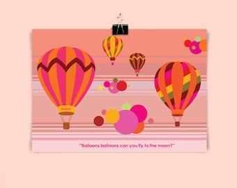 BALLOONS - Children's / kid's / baby's personalised print - Children's wall art - Baby's bedroom wall art - Child's gift