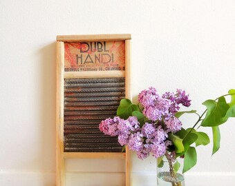 Vintage 60's Washboard, Dubl Handi Columbus Washboard Co., Distressed Rusty Washboard, Rustic Farmhouse Wash Board, Laundry Room Decor