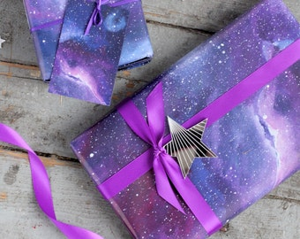 Gift wrapping etsy uk galaxy print wrapping paper space gift negle Image collections