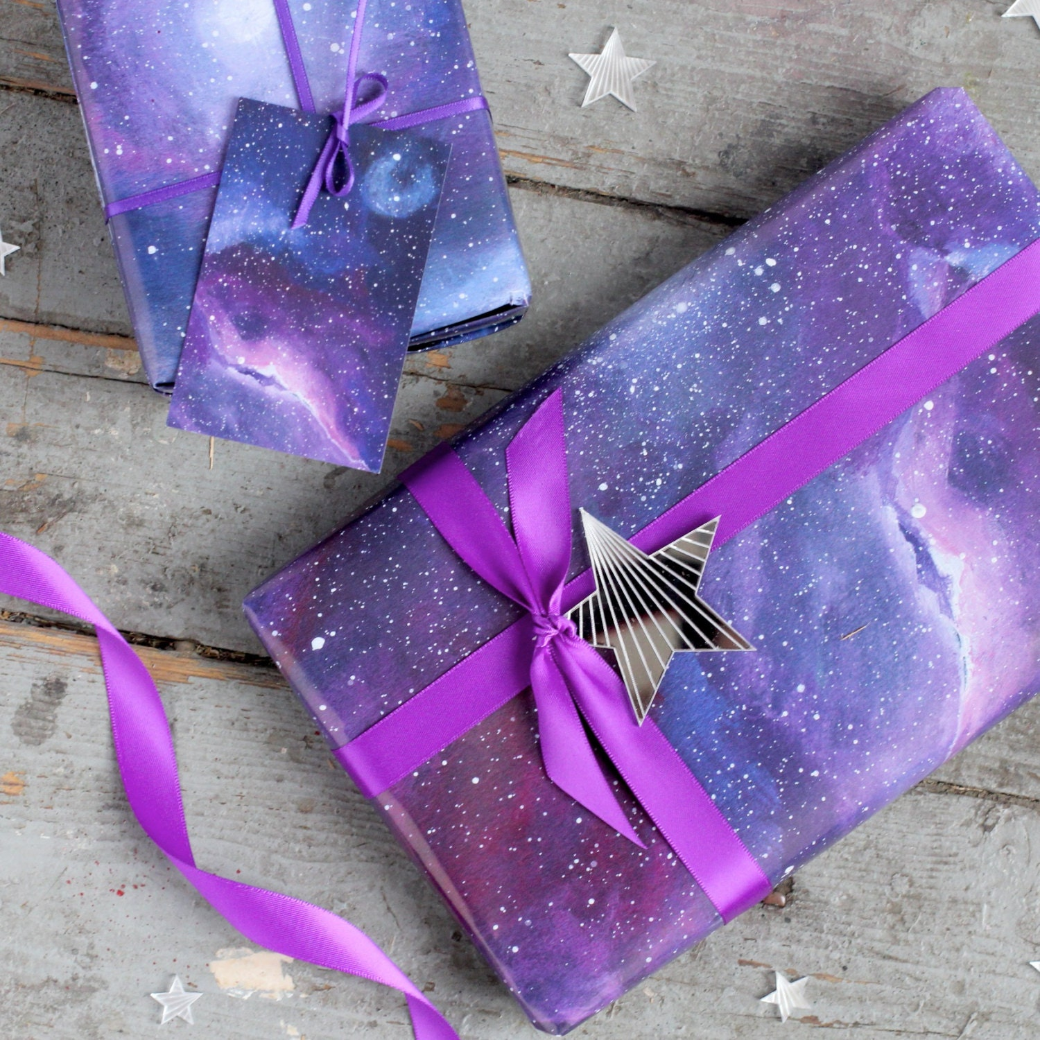 Galaxy print wrapping paper space gift wrap constellation zoom negle Images