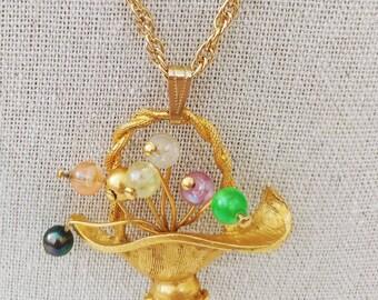 Vintage Gold Toned Basket Necklace Beaded Flowers Artsy Colorful Pendant Floral Novelty Design
